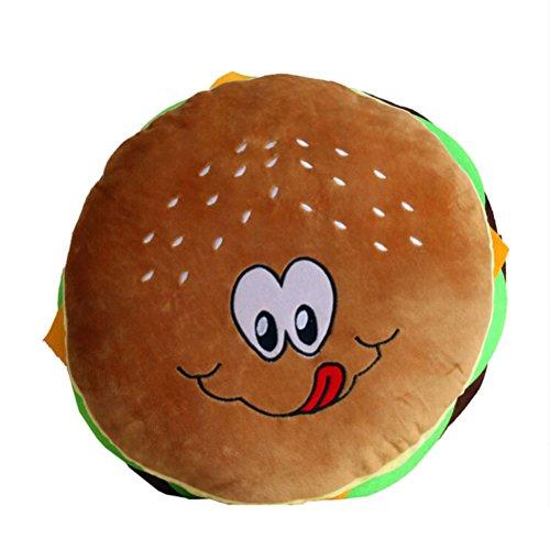 Nunubee Oreillers Motif De Hamburger Coussins Décoratifs Coton Coussin Jouet En Peluche Mignon, Visage Souriant