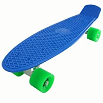 "22"" Standard Complete Skateboard Retro Board Selectable Colors (blue-green)"
