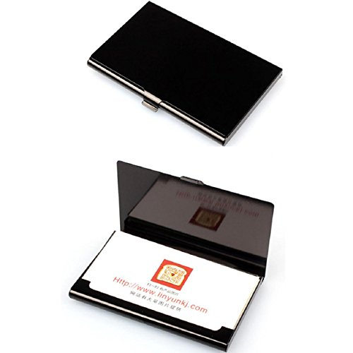 Welcomeuni Creative Aluminum Holder Metal Box Cover Credit Business Card Wallet (Black)
