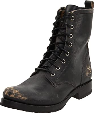 FRYE Women's Veronica Combat Boot,Black Stone Washed,5.5 M US