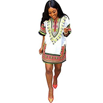 Women Summer Traditional African Print Dress Casual Knee Mini Dresses