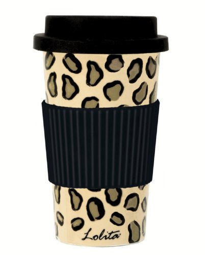 C.R. Gibson Lolita Porcelain To Go Cup, Leopard front-294181
