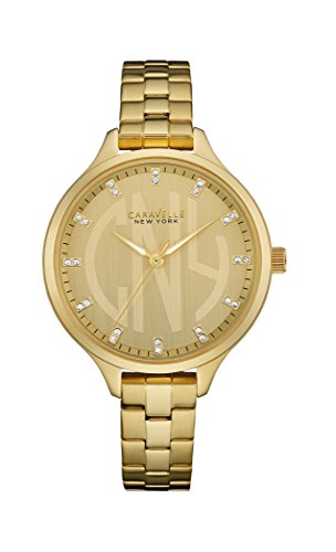 Caravelle New York Slimline Women's Quartz Watch with Rose Gold Dial Analogue Display and Rose Gold Bracelet 44L207