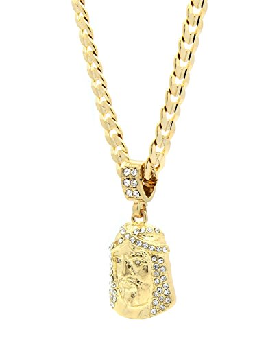 [Mens 14k Gold Plated Cz Jesus Face Pendant Hip-hop 24
