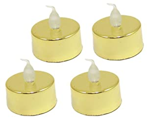 Gold Base Battery Operated Tea Light Candles 4/pack from PinkWebShop
