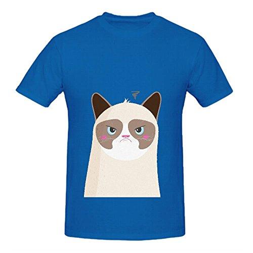 Grumpy Cat Naj Mens Crew Neck Shirts Casual Blue