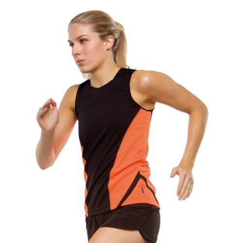 Gamegear® Cooltex® Ärmelloses Damen Sport Top / Damen Sportbekleidung (36) (Schwarz/Orange)