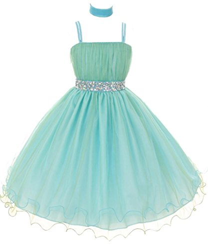 Akidress Chic Two-Tone Tulle Dress With Glimmer Stone Waist For Flower Girl Aqua 4-16