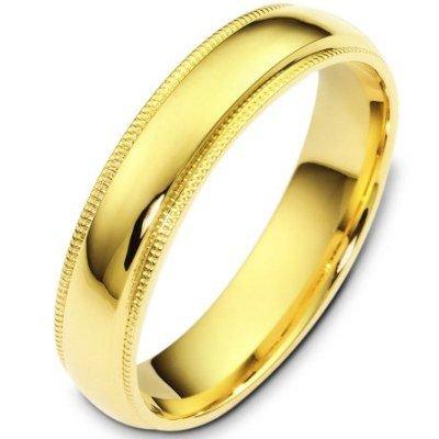 10K Yellow Gold, Comfort Milgrain Wedding Band 5MM (sz 8.5)