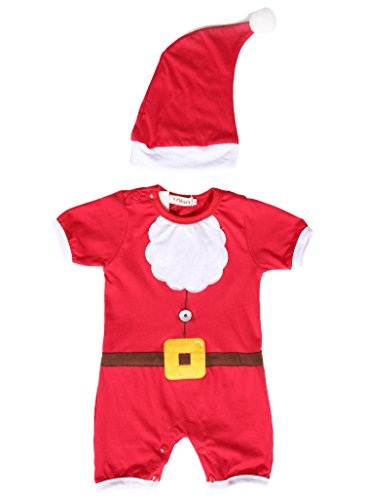 Zeagoo New Cute Kids Santa Claus Costume Open-seat Jumpsuit Romper Christmas Cosplay With Cap 1-4Y
