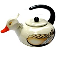 Cream Colored Enamel on Steel Whistling Stovetop Animal Tea Kettle - Duck