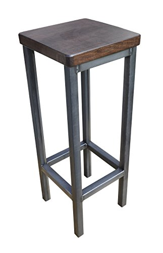 Barhocker-Stahl-Holz-massiv-Barstuhl-Industrial-Design-Metall-Hocker-H-78-cm-Nuussbaum