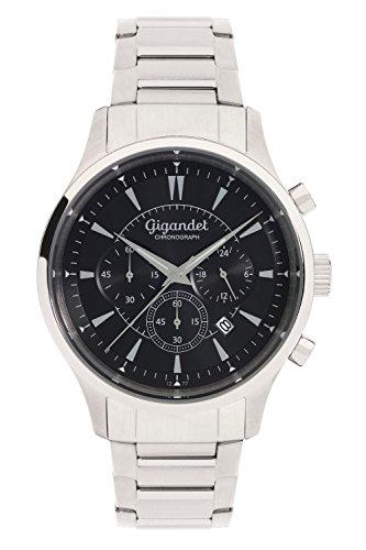 Gigandet Reloj de Hombre Cuarzo Brilliance Cronógrafo Analógico Correa de Acero Plata Negro G48-006
