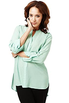 Open Neck Collar Stud Embellished Blouse, Mint
