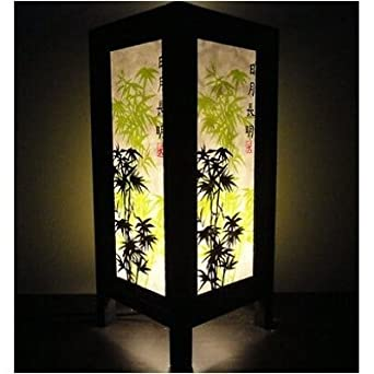 Thai Vintage Handmade Asian Oriental Japanese Bamboo Trees Bedside Table Lanna Paper Lamp Wood