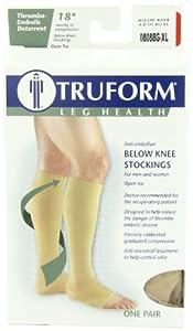 Truform Anti-Embolism Below Knee Open-Toe Stockings, Beige, Extra Large (Pack of 2)