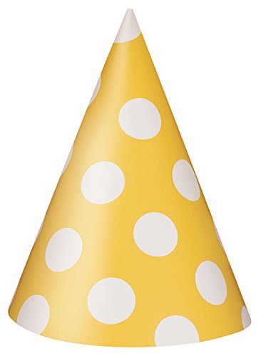 Yellow Polka Dot Party Hats, 8ct