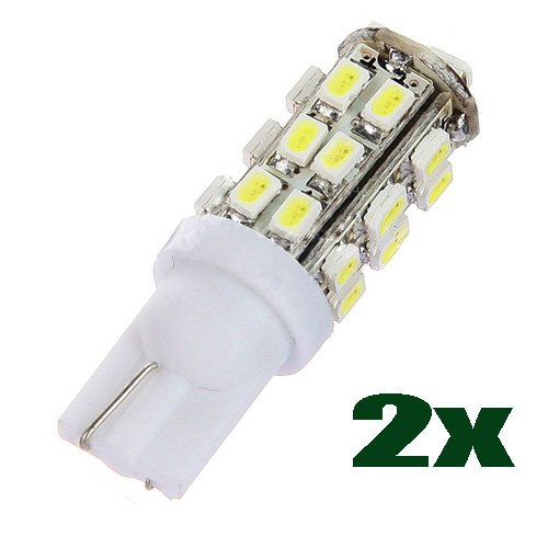 Sodial(R) 2X White 28 Smd Led T10 W5W 501 194 168 Car Wedge Interior Side Light Bulb Lamp