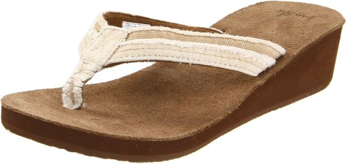 Sanuk Women's Fraid Wedge Flip Flop Sandal,Tan,7 M US
