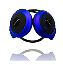 buy Bluetooth (Upgraded) Mini Portable Wireless Bluetooth Headset With Built-In Mic. Cordless Headphones (Blue)