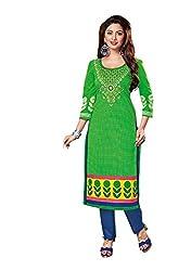 AMP IMPEX Ethnicwear Women's Kurti Fabric Green Free Size