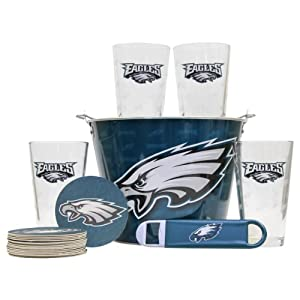 NFL Team Gift Bucket Set (Pint Glasses, Coasters, Bottle Opener, Bucket) by NFL