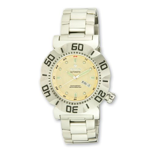 Croton Mens Stainless Steel Sport Yellow Dial Automatic Watch