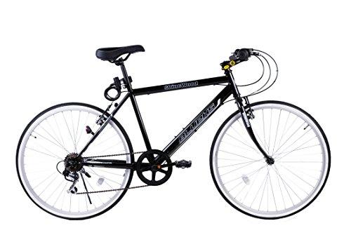 SHINEWOODⅣ(シャインウッド) 自転車 26インチ クロスバイク 軽量 シマノ6段変速 ライト鍵付き (ブラック)(MS)
