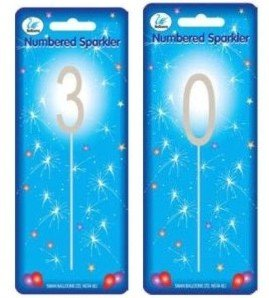 Sparkler / Sparkling Number Birthday Cake Candle (30)