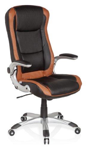 HJH Office 621770 Sedia da ufficio Miami Compact, colore: Marrone chiaro / Nero