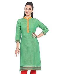 Adyana Women's Kurti (AD072_Green_Medium)