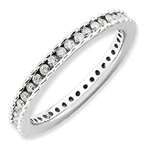 IceCarats Designer Jewelry Size 6 Sterling Silver Stackable Expressions Polished Diamond Ring