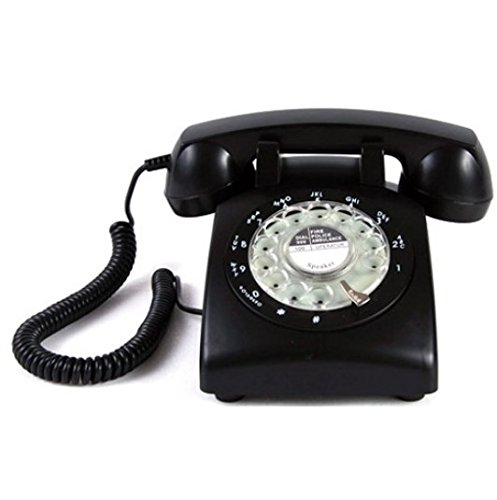 Glodeals 1960's Style Black Vintage Old Fashioned Rotary Dial Home Telephone