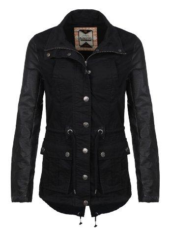 Sublevel Damen Übergangs Jacke Sommer Jacke Parka Style mit Leder Ärmeln schwarz XL