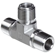 Parker Stainless Steel 316 Pipe Fitting, Tee, NPT Male X NPT Male X NPT Male
