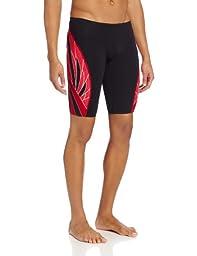 TYR Men\'s Phoenix Splice Jammer Swimsuit (Black/Red, 28)