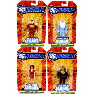Buy Low Price Mattel DC Universe Justice League Unlimited Exclusive Set of 4 Action Figures Shazam! Family (Shazam, Mary Batson, Black Adam and The Wizard) (B002MARYGO)