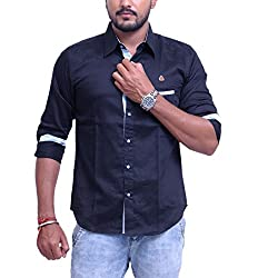 PP Shirts Men Cotton Casual Shirt ( Black XXXXXL )