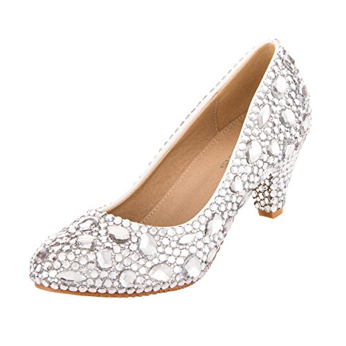 VELCANS Gorgeous Rhinestone Middle Heels Dress Pumps for Wedding,Brides,Party and Prom Shoes (9.5 B(M) US, Silver)