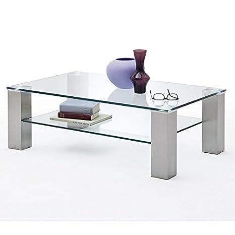 Couchtisch ASTA II Glastisch Wohnzimmertisch Metall Glasplatte rechteckig