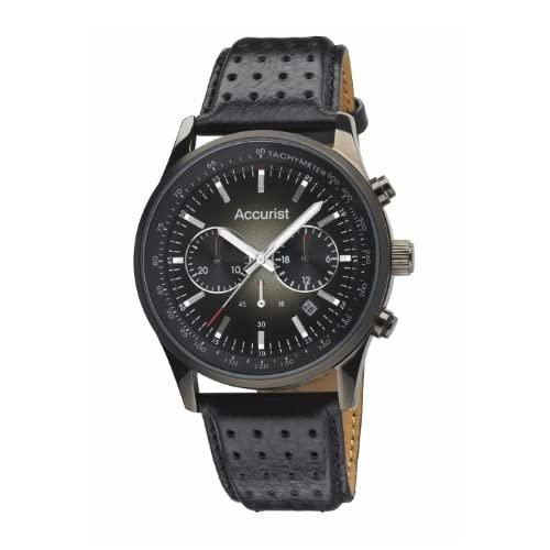 Accurist Men's Quartz Watch with Black Dial Chronograph Display and Black Leather Strap MS895B