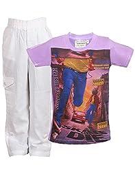 Tonyboy Combo Stylish Purple white Printed Cotton T Shirt and Linen Pant