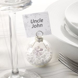 Snowflake Bauble Place Card Holder Pack of 6 - Perfect for Decorating Christmas Dinner Tables or Winter Themed Weddings