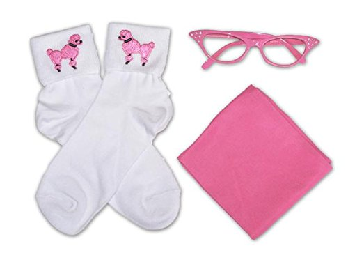 50s Costume Chiffon Scarf, Cat Eye Glasses and Bobby Socks Accessory Set for Women