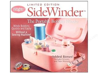 Wrights Limited Edition Pink Sidewinder Bobbin Winder with Scissors and Tape Measure