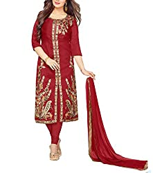 Angroop Women's Cotton Semi-Stitched Dress Material (WA0018_Free Size_Red)