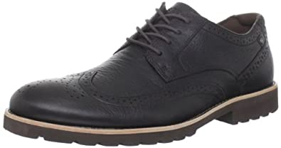 (降价)乐步Rockport Men's Ledge Hill Wing Tip Lace-Up男子真皮皮鞋 深棕 73.82刀