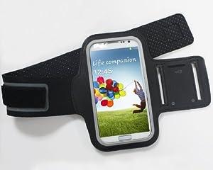 RXYYOS - Samsung Galaxy S4 i9500 Schwarz Jogging Fitness Armbinde Joggen Sport Armgurt Arm Tasche Etui Hülle Case Schutzhülle Cover Sport Armband