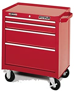 Waterloo PMX2704 26-1/2-Inch Wide by 18-Inch Deep by 32-Inch High Red Tool Cabinet with 4 Ball Bearing Drawers and Tri Channel Construction