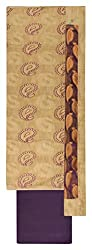 Sanskriti Women's Cotton Silk Unstitched Dress Material (Off-White and Purple)